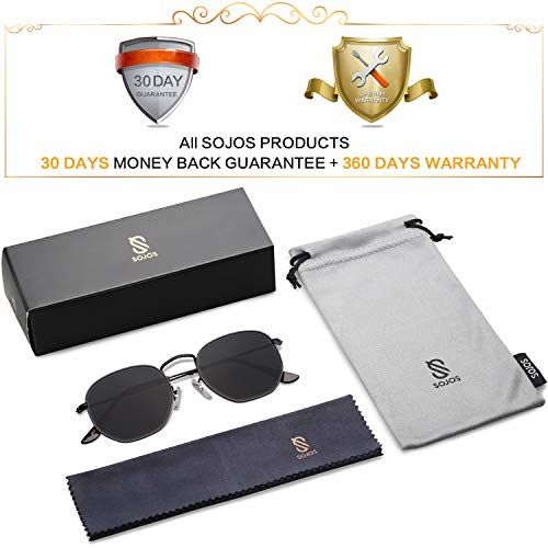 SOJOS SJ1072 Black metal Polarized Lens Polygon Sunglasses