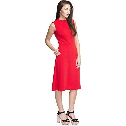 Addyvero Women's Cotton A-Line Dress (Red, Small)