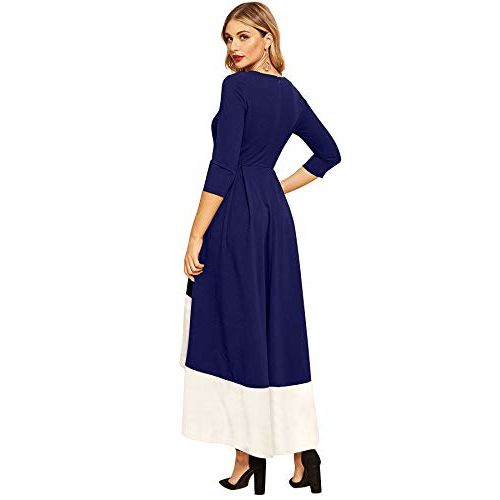 ILLI LONDON WOMEN'S FULL LENGTH 3/4 SLEEVE HIGH LOW DESIGNER GOWN DRESS