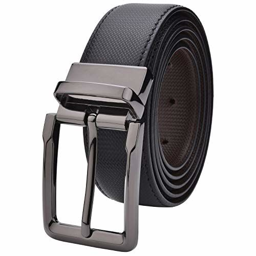 Labnoft Men's Reversible PU Leather Belt with Auto Turning Buckle, Free Size