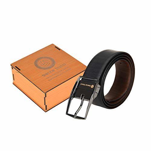 Bacca Bucci Men's Reversible Classic Dress belt Italian Top Grain Genuine leather Black & Brown with rotating Metal Buckle-Black & Brown