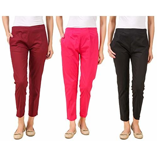 Q-rious Women's Cotton Lycra Trousers/Pants/Chinos (Pack of 3)