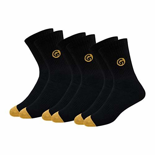 GLINTO Men's Premium Cotton Athletic Crew Socks, Super Value Pack (3 or 6 Pair Packs, Free Size)