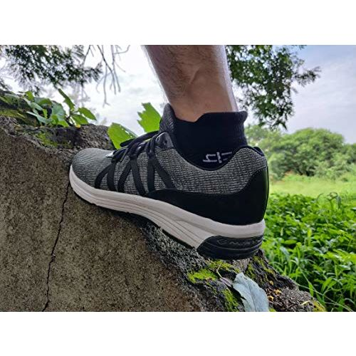 Heelium Bamboo Men's Ankle Socks for Running Sports & Gym, Black Grey White & Blue, Anti Odour Breathable Durable Anti Blister Free Size (Shoe Size UK7 - UK12),