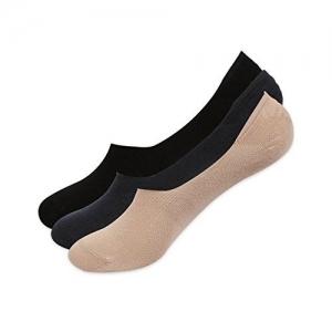 Balenzia Men's Cotton No Show Socks with Anti Slip Silicon System (Black, Navy Blue, Beige, Free Size)- Set of 3