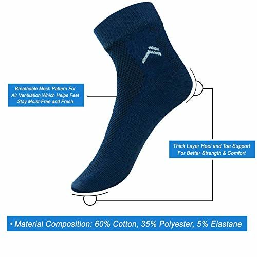 Arctic Wolf Men's Cotton Ankle Socks Combo Pack (Black, White, Dark Grey, Navy Blue, Free Size) -6 Pairs