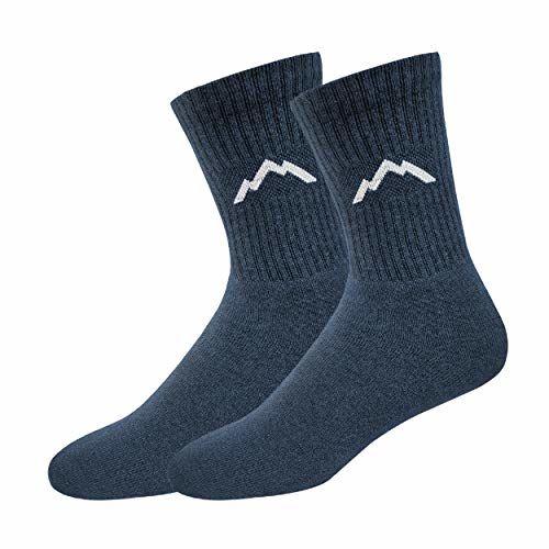 Ranger Sport Men's Heavy Duty Cotton Crew Athletic Socks, Pack of 3 (Blue)