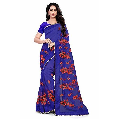 Orangesell Blue Mono Net Embroidery Work Saree With Blouse Piece