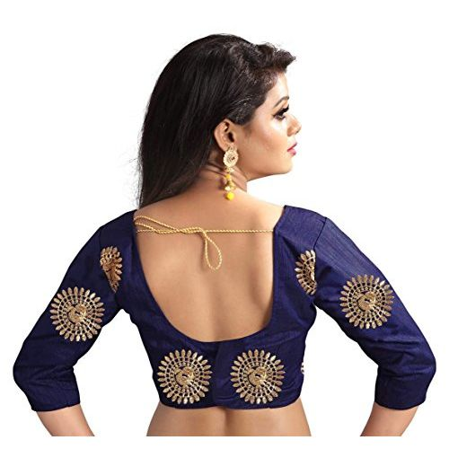 Kuvarba Fashion Women's Silk Embroidered Saree With Blouse Piece