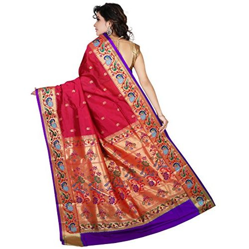 ARUNAFASHIONS women's Embroidered Art Silk paithani Saree