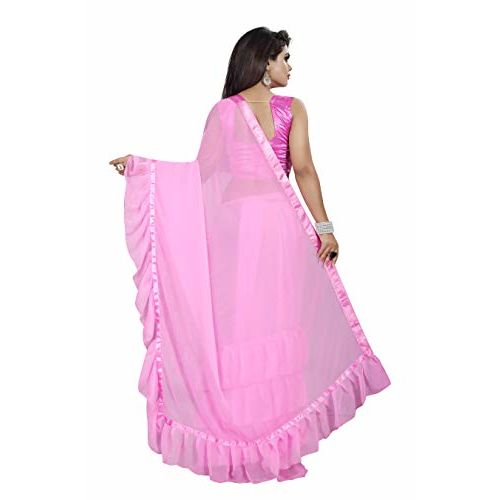 Market Magic World Pink Georgette Ruffle Saree With Blouse Piece