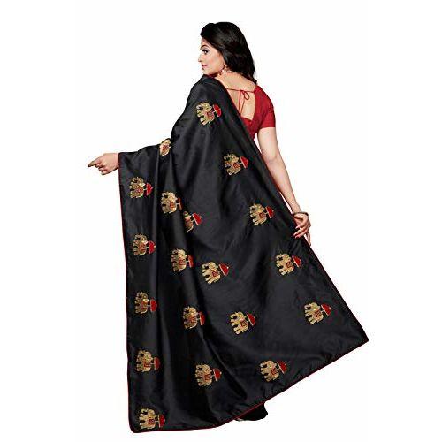 Rani Saahiba Art Silk Embroidered Saree with Blouse Piece (SKR4483_Black)