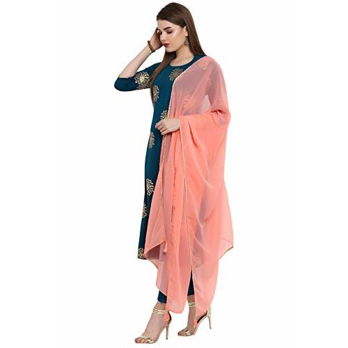 Janasya Women's Turquoise Crepe Kurta With Pant And Dupatta