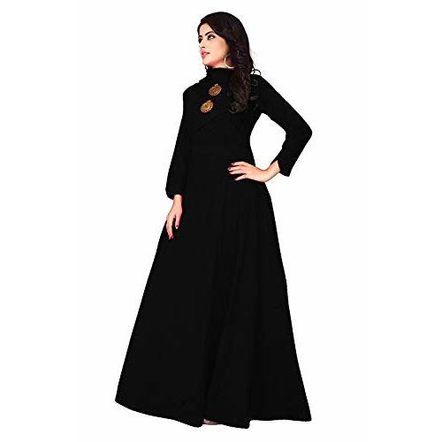 Leriya Fashion Black Cotton Solid Flared Gown