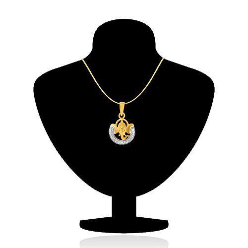 Mahi Gold Plated Unisex Ganpati God Pendant with CZ PS1101394G