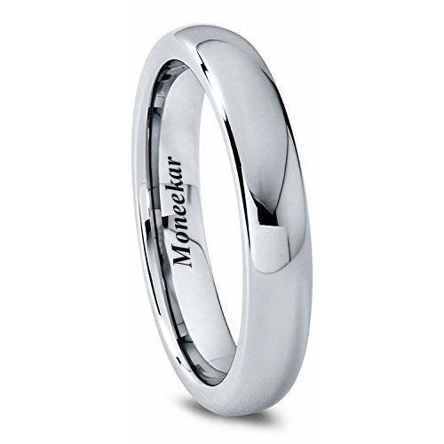 Moneekar Jewels 4mm 6mm 8mm Tungsten Band Ring Plain Dome Polished Size Comfort Fit Size Rings for Mens Women