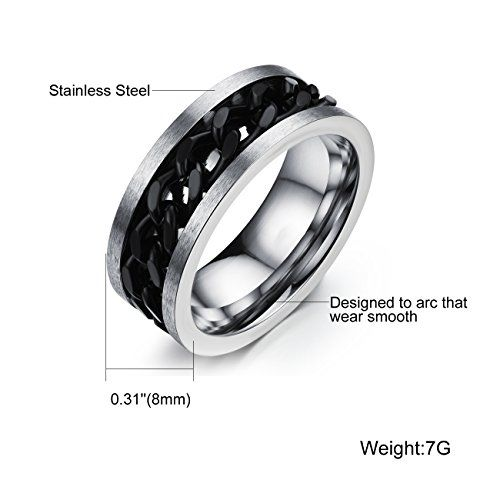 Yellow Chimes Tough Dude Chain Stainless Steel Silver Rings for Men and Boys (Black Chain)...