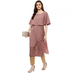 ZIYAA Pink Synthetic Straight Kurta