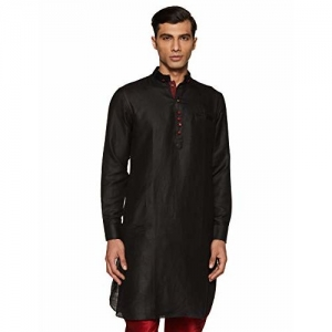 Manyavar Men's Silk Kurta (ML11774-310_Black_M)