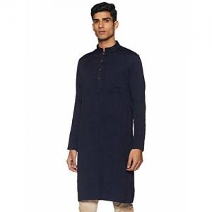 Manyavar Men's Full Sleeve Regular Fit Self-Designed Banded Collar Kurta