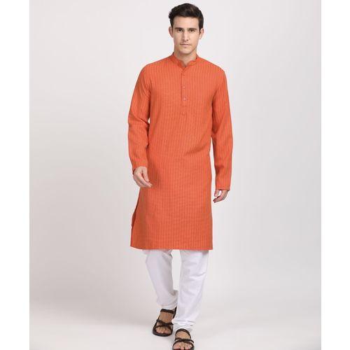 British Club Men Striped Straight Kurta(Orange)