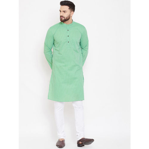 even Men Green & Off-White Striped Straight Kurta