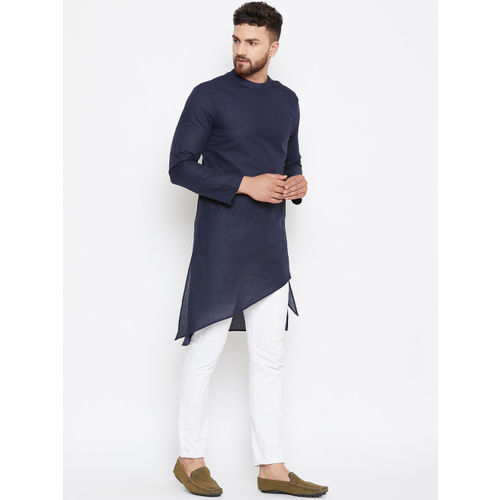 even Men Navy Blue Solid Straight Kurta