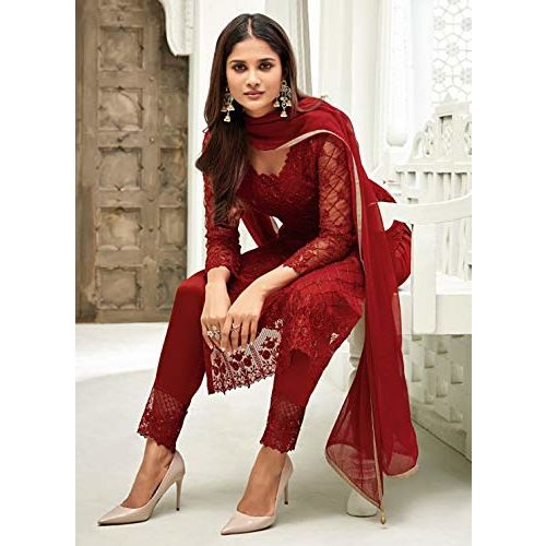Fancy Lifestyle Red Soft Silk Inner Semi-Stitched Dress Material