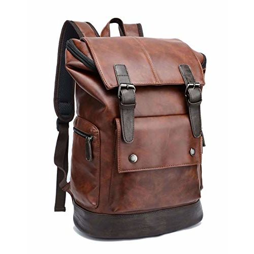 Fur Jaden Brown Leatherette Anti Theft Casual Laptop Backpack with 14 Inch Laptop Pocket