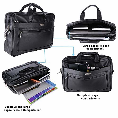 ZIPLINE Synthetic Leather Executive Office Formal 15.6 Laptop Briefcase Messenger Bag for Men Women with Multiple compartments