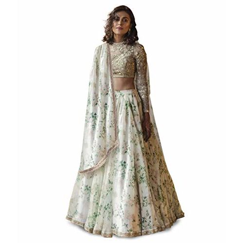 Zeel Clothing Women's Floral Printed Organza Semi Stitched Lehenga Choli with Dupatta