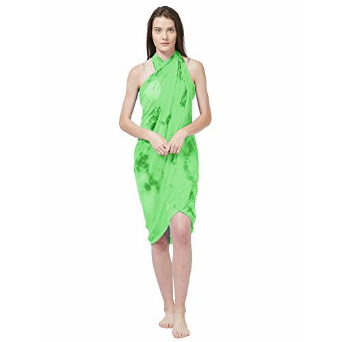 SOURBH Women's Georgette Beach Wear Swimsuit Cover Up Wrap Sarong Printed Pareo (One Size)