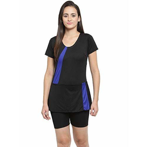 N-Gal Women's Polyester Frock Style Half Sleeves & Shorts One Piece Swimwear Swimsuit