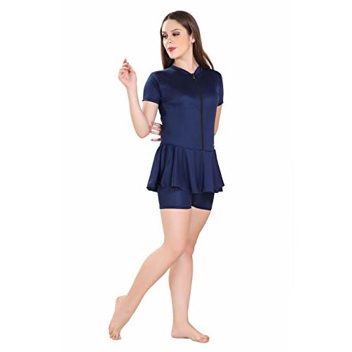Rovars Poly Jersy - Swimming Costume for Women Frock Style [Half Sleeves- Half Length] with Front Zipper (Without Pads)