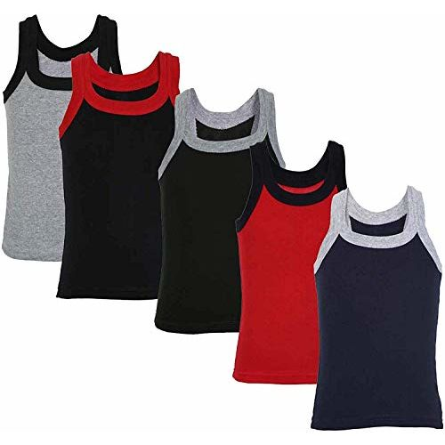 Luke and Lilly Multicoloured Boys Cotton Vest - Pack of 5