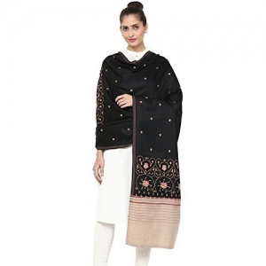 Pashtush Womens Kashmiri Embroidery Shawl, Black, Warm Wool with Intricate Needle-Work and Traditional Design