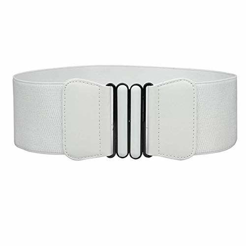 Futurekart Wide Elastic Buckle PU Leather Waist Belt for Women Ladies (White)