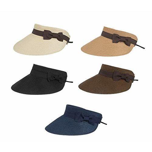 PALAY Fashion Summer Wide Brim Sun Visor Cap Women Foldable Beach Straw Hat (Beige)