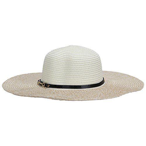 FabSeasons Long Brim Blue & Beige Beach and Sun Hat for Women & Girls