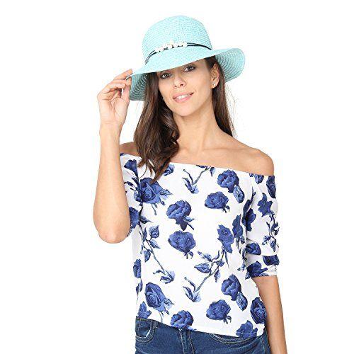 FabSeasons Falling Brim Blue Beach and Sun Hat & Cap for Women & Girls