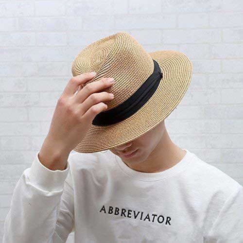 UV Protection Beach Straw hat Womens Summer Sun Hats Roll up Wide Brim Sun Visor UPF 50