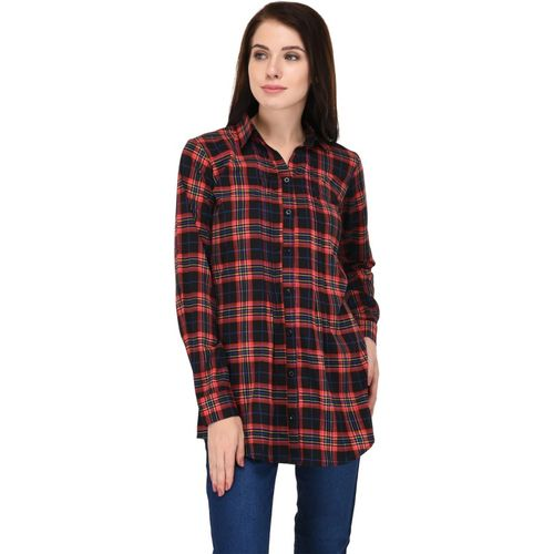 Trendif Women Checkered Casual Red, Black Shirt
