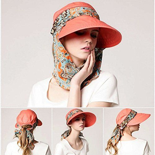 ZORBES Phenovo Women Sun Hat Face Protective Anti-UV Wide Brim Visor Foldable Cap Orange