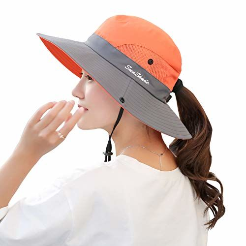 PALAY Women's Outdoor UV Protection Foldable Mesh Wide Brim Beach Fishing Hat