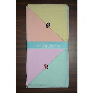 Quienz Women's Cotton Plain Handkerchief (Multicolour, 27 x 27 cm 551 W-W) -2 Pack of 12 Pieces Each