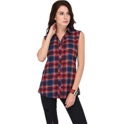 Trendif Women Checkered Casual Red, Dark Blue Shirt