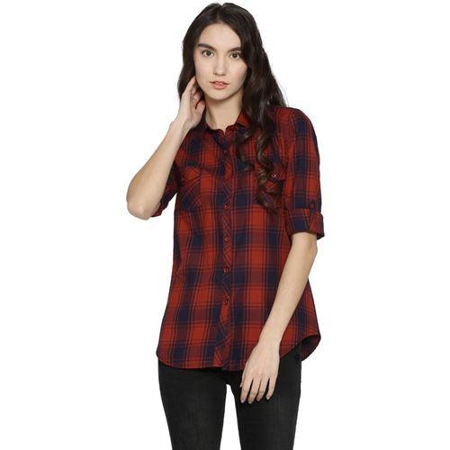 Campus Sutra Women Checkered Casual Red, Dark Blue Shirt