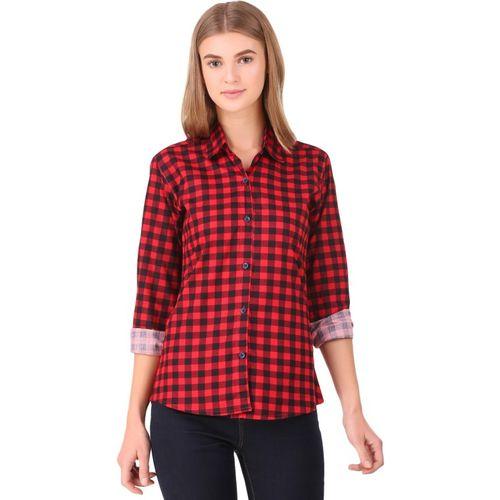 Hi-Living Women's Checkered Casual Red Shirt