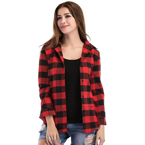 C.Cozami Women Checkered Casual Red, Black Shirt