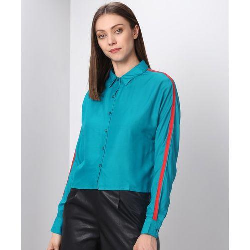 Metronaut Women Color Block Casual Blue, Red Shirt
